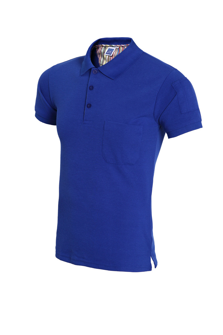blue and green polo shirt